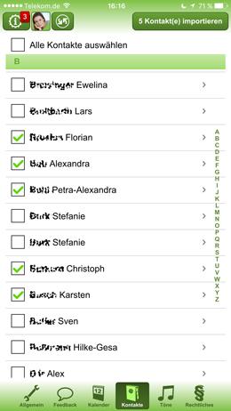 Importieren und Verwalten von Kontakten in der FAMANICE App