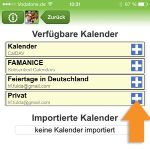 Auswahl zu importierender Kalender