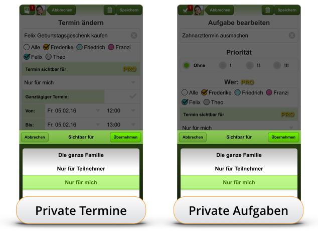 Private Termine & Aufgaben